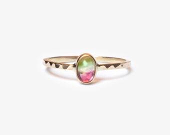 Watermelon Tourmaline Ring, Wedding Ring, Engagement Ring, 14k Gold Ring, Modern Ring, Magic Ring, Stackable Ring, Bi-Color Gemstone Ring
