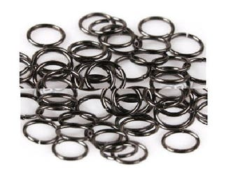 Set of 50 rings open 8 mm and gunmetal color metal