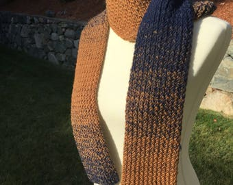 Handmade Knitted Scarf, Wool Blend Scarf, Winter Scarf, Fall Scarf