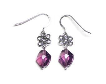Amethyst cosmic crystal earrings, Swarovski crystal, amethyst earrings, purple earrings, sterling silver links, sterling silver earwires