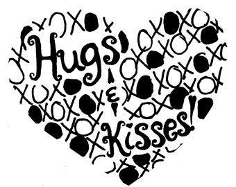 Hugs & Kisses Heart SMALL Red Rubber Stamp-Original design 02301, heart rubber stamp, valentines rubber stamp, love rubber stamp