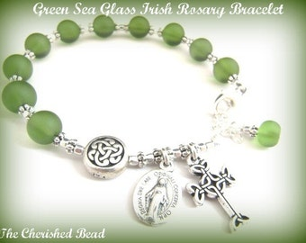 Irish Green Sea Glass & Silver Catholic Rosary Bracelet