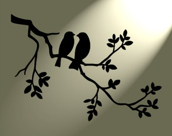 Shabby Chic Stencil 2 birds in tree Rustic Mylar. Vintage style A4 297x210mm