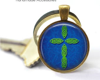 GREEN CROSS Key Ring • Blue Cross • Christian Cross • Christian Key Ring • Faith Key Ring • Gift Under 20 • Made in Australia (K610)