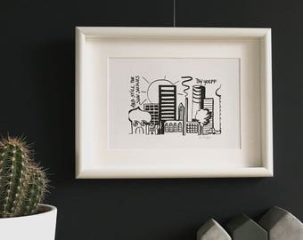 Limited Edition. Urban Living. Black and white print. ' And still the sun shines. '