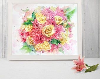 father's day gift, Custom wedding bouquet painting, Bridal Bouquet Painting, original watercolor painting, Anniversary Gift, Gift for Her