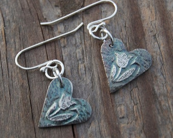 Valentine's gift, spring tulips, tiny silver tulip earrings, heart earrings, tulip heart earrings, gardener gift, silver earrings