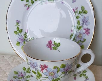 Royal  Stafford in Columbine pattern  trio - cup, saucer and side plate. Vintage