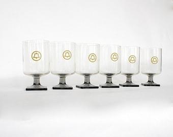 Vintage Glassware - Vintage Bell Telephone - Vintage Advertising Glasses- Saul Bass Logo - 1970s Glassware - Geek Gift Man Cave Barware