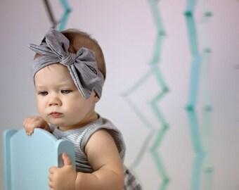 Gray Head wrap, bow top knot cotton headband, baby and girls turban