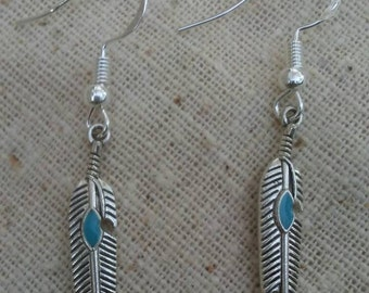 Sliver simple feather earrings