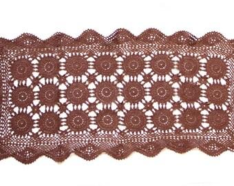 Brown hand dyed rectangular Crochet Vintage Doily centerpiece