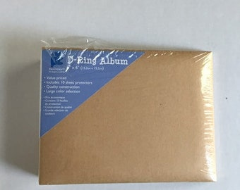 D-Ring Album - 6 x 6 Inches - Scrap Book, Photo Album, Blank Book - Includes 10 Sheet Protectors - Gift Project for Summer