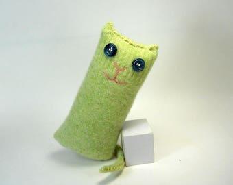 Green Cat, Wool Stuffed Kitty Cat, Upcycled Sweater, Eco Friendly Stuffed Kitty