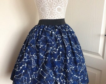 Ladies or girls Glow in the Dark Constellations skater style skirt