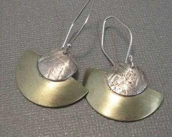 Brushed Brass Fan Earrings, Mixed Metal Sterling Silver and Brass Earrings, Handmade Earrings, Artisan Hand Forged Jewelry