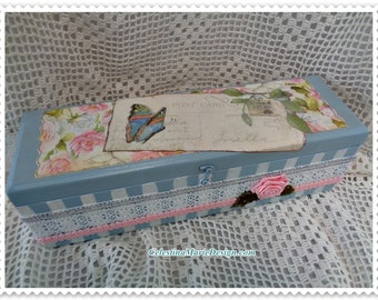 Pretty Blue Wood Keepsake Box, Hand Painted, Designed and Accented, Storage, Gift, Collectible, ECS