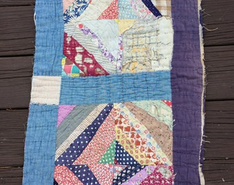 Vintage Quilt Piece Feed Sack Fabrics Table Pads Pillows Farmhouse Primitive Shabby Cottage Old FAAP