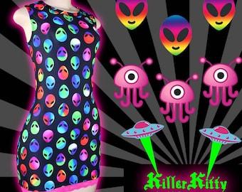 Neon Alien Raver Skater Dress Pink Lace Festival Coachella Hippy Clubwear Rave Dance Party Pole Wear Mini Dress UFO Aliens