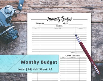 monthly budget finance tracker money tracker budget notebook monthly budget plan