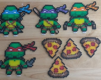 Teenage Mutant Ninja Turtles - Leo, Raph, Donnie, and Mikey With/Without Pizza Stand 6.0x7.0 Perler Bead Art Pixel Art TMNT