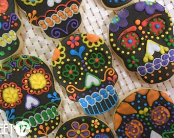 Black Day of the Dead Skull Sugar Cookies (Set of Six)