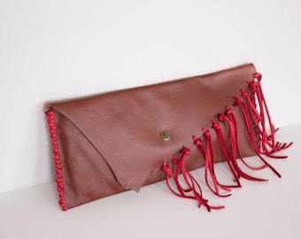 Red Fringe Bag, fringe purse for women in boho style , leather clutch , soft , asymmetric