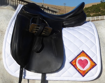 Be Hip! White Dressage Saddle Pad for English saddles, retro The Summer Love Collection LD-75