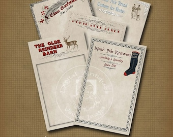 Santa's Christmas Letter Vintage Stationery Printable Digital Download