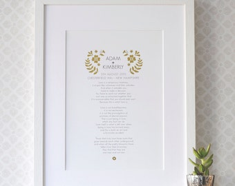 Wedding Anniversary Vow Art Print - gift for wedding anniversary - gold foil wedding gift - love poem - first anniversary - 1st anniversary