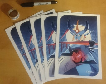Blue Monster Girl Tarot Card