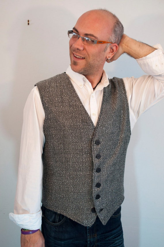 Mens 6 button tweed vest made to order 3Ce3h8