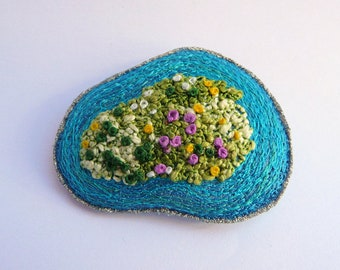Island brooch - textile art, free motion machine embroidery, unique wearable art