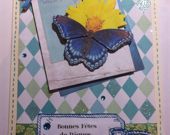 3D Easter card frame blue butterfly and sunflower