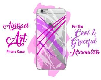 Purple Pastel Lines Unique Abstract Art Clear iPhone Case Design - iPhone X / 8 / 8 Plus / 7 / 7 Plus