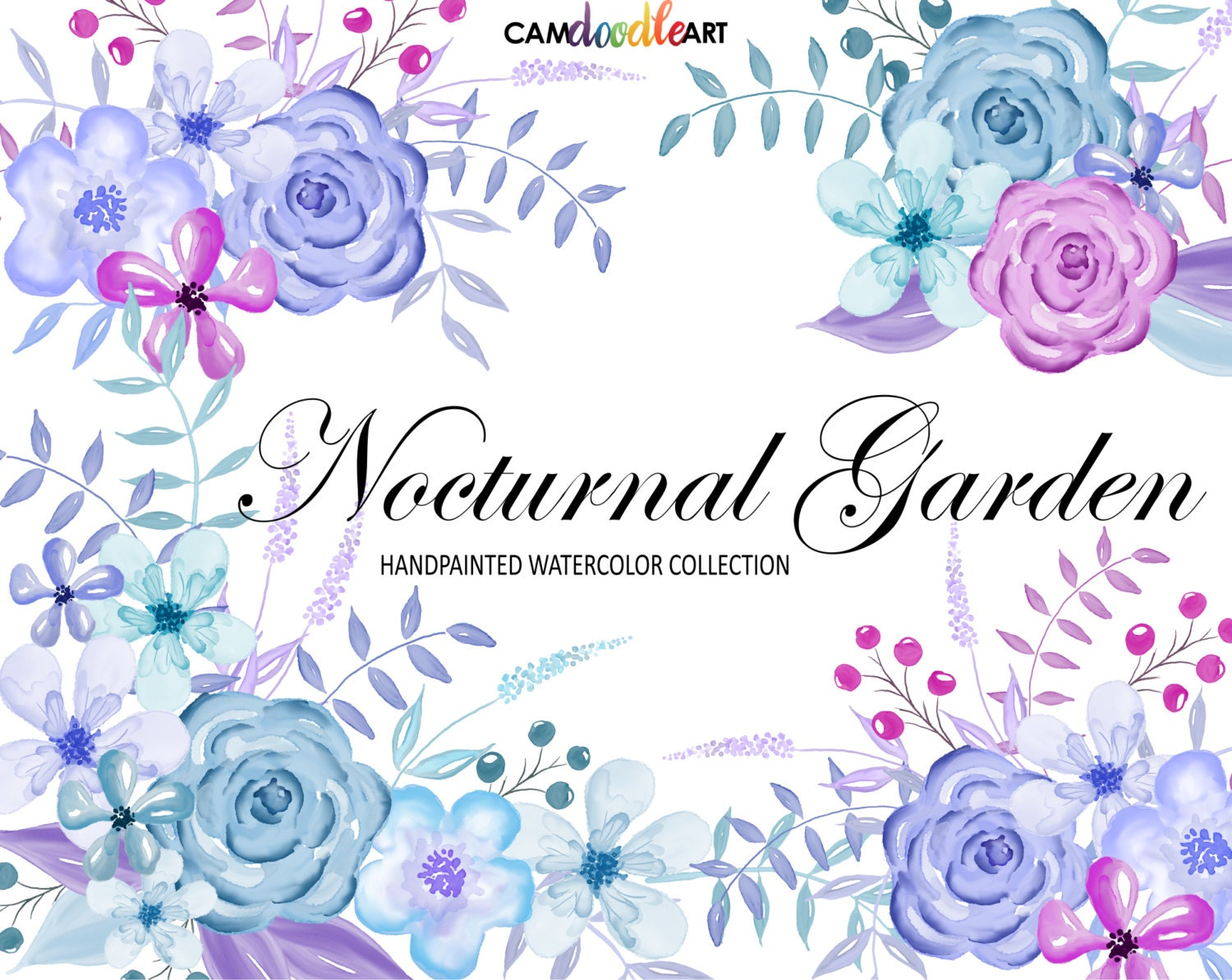 Purple And Blue Watercolor Flowers Clipart SetHand Painted