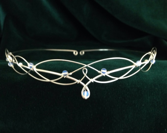 Gemstone Circlet Choose Either Moonstone Rose Quartz or Lapis Lazuli Elven Headpiece Tiara Medieval Renaissance Handfasting