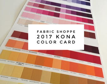 NEW 2017 Kona Color Card, Kona Swatches, All 340 colors included, Quilting Cottons, Includes all 37 NEW colors,  Robert Kaufman, Sewing