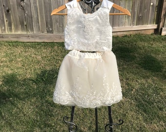 2 Piece Ivory Beaded Lace Flower Girl Dress ** made to order**