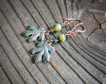 Yellow Turquoise and Copper Drop Leaf Earrings
