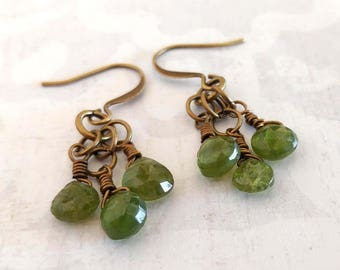 Olive Green Faceted Teardrop Vesuvianite Gemstones, Wire Wrapped Brass Bronze Antique Gold Dangle Dark Green Earrings