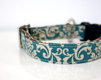 Mint Blue Damask Dog Collar- Silver