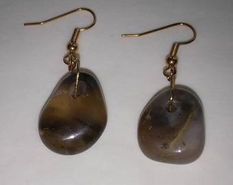 Smokey Agate Dangle Earrings on Antique Gold Findings