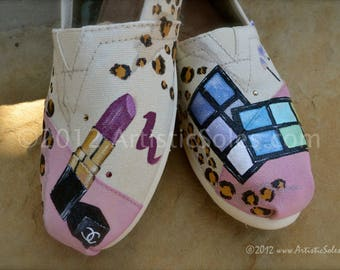 Leopard | Makeup | Custom TOMS® Shoes | Lipstick | Custom Painted | Glitter |Kiss | Cosmetics | Espadrille | Girl Shoes | Girly