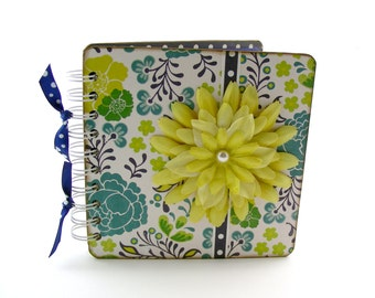 Once Upon a Yellow Bloom Lined Journal, 6x6, turquoise - blue, yellow, teal