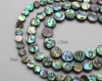 "8mm Natural abalone shell Flat Coin Beads Strand 16"" Jewelry Making Beads 10mm 12mm"