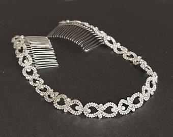 Wedding Headband, Silver Bridal Headpiece, Rhinestone Headband, Hair Tiara, Flower Girl,Hair Jewelry, Bridesmaid, Hair Accessory-HA028