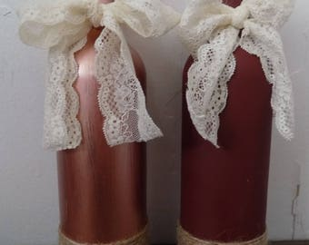 Rose Gold and Burgundy Wine Bottle Centerpiece