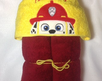 Marshall Hooded Bath Towel, Kids Hooded Towel, Paw Patrol Peeker, Birthday, Marshall, Firefighter Towel, Personalized Kids Towel, Fire Dog
