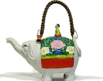 Antique Japanese Banko Ware Elephant Figural Teapot